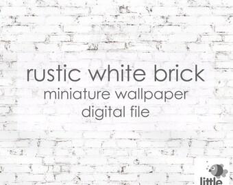 "Digital Download ""Rustic white brick"" - miniature dollhouse wallpaper"