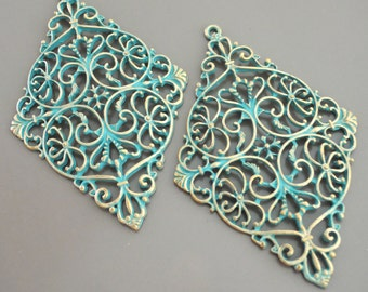 Large Earrings Findings Turquoise Pendant Earring Component Turquoise Verdigris  Antique Gold Earring Findings - DIY Earring Pendant