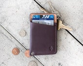 "Slim Leather Wallet  // ""slim"" by fullgive in plum"