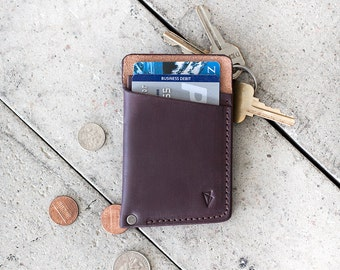 """Slim Leather Wallet  // """"slim"""" by fullgive in plum"""