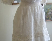 "1914 36"" bust, white muslin, two tiered embroidered dress."