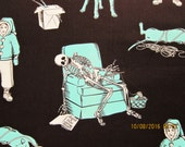 "KNITMARE on ELM STREET  Fabric - Very Rare Original Printing Aqua on Dark Chocolate Brown - 12""x44"" - #M39"