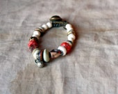 Cherries In Snow, Bracelet with Artisan Lampwork, Stoneware, Antique Glass and African Metal Beads On Waxed Buckskin Leather