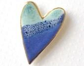 Heart Brooch. Light Jade Green and Cobalt Blue. Ceramic. Ocean Blue. Mint Green. Blue-Green. Sapphire Blue. Clay. Porcelain. 22K Gold Edge