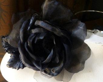 BLACK Silk Rose in Velvet & Silk Organdy for Bridal,  Millinery, Corsages, MF101
