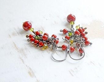 Red Jasper Cluster Earrings, Copper Wire Jewelry, Boho Cascade Earrings, Hand Crafted Jewelry, Hand Forged Chain Drop Earrings