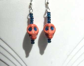 Coral Skull Glowing Blue Eyes Earring Day of the Dead Dia de los Muertos Calavera Halloween Earrings