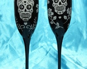 2 Gothic Black Day of the Dead Champagne Glasses, Personalized Sugar Skull Present for Couple