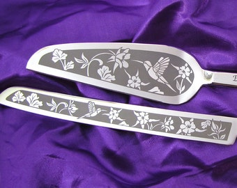 Hummingbird Themed Wedding Cake Server and Knife Set, Engraved Gift for Bride and Groom, Present for Couple Colorado Wedding
