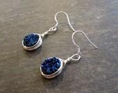 Blue Druzy Earrings- Silver Earrings - Blue Stone Jewelry - Indigo Druzy Small Jewelry - Silver and Blue Jewelry Geode Earrings