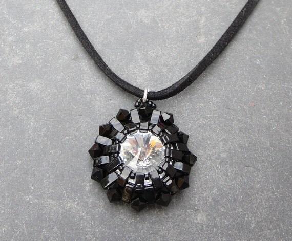Big Bold Chunky Necklaces Swarovski Crystal Pendant Necklace  Black Cord Necklace   Black and Crystal Jewelry Edgy For Her