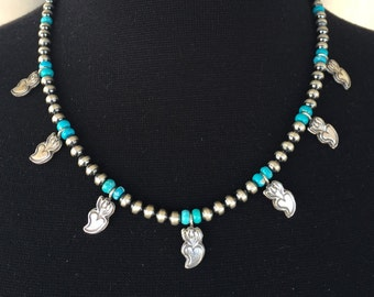 N37 Mini Squash Blossom Boho Style Necklace Sterling Silver Turquoise Santa Fe Pearls and Burning Love Hearts