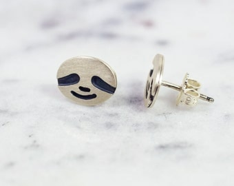 Sloth Face Earrings! Sweet Little One of a Kind Silver Sloths for Your Ears