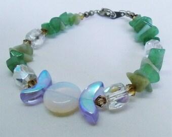 Green aventurine triple moon bracelet with Swarovski and Czech crystals