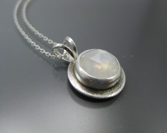 glowing rainbow moonstone necklace, sterling pendant, moonstone June birthstone, recycled silver, eco friendly jewelry, moonstone necklace