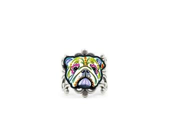 English Bulldog Ring - Day of the Dead Sugar Skull Dog - Adjustable Band