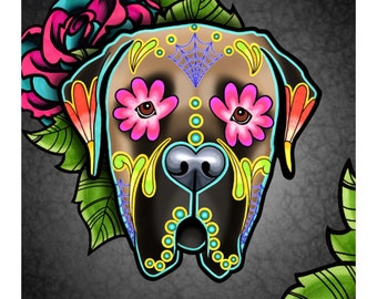 "SALE Regularly 14.95 - Mastiff in Fawn - Day of the Dead Sugar Skull Dog 8"" x 10"" Art Print"