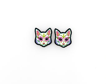 Cats in White - Day of the Dead Sugar Skull Kitty Cat Earrings - THE ORIGINAL