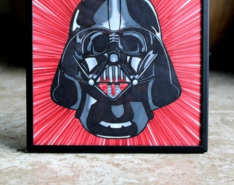 CLEARANCE - Darth Vader in Light Speed - Bleeding Red Star Wars - Original Art by Cali