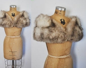 Fox Fur Stole / Capelet / Silver Fox / Bridal Wedding