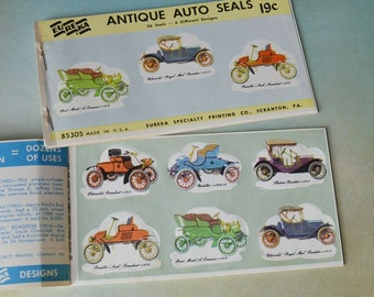 Vintage Eureka Antique Auto Gummed Seals 66 pc