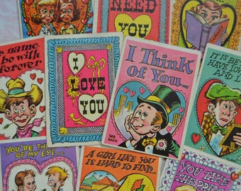 Vintage Topps Funny Valentine Trade Cards Lot of 10