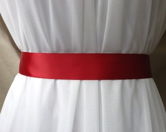 Red Double Sided Satin Bridal Sash Belt Plain 1.5 inches Wide