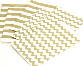 "25 Medium Flat Metallic Gold Chevron Paper Favor Bags . 5"" x 7.5"""