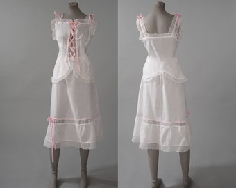 Vintage Victorian Camisole Petticoat Set, 2 Piece White Cotton Eyelet Lace Corset Cover Skirt, Womens Clothing, Lingerie, Camisoles, Skirts