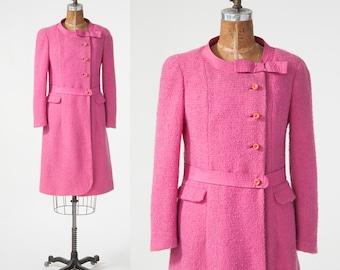 Vintage Pink Wool Coat, 1960s Mod Pink Boucle Wool Coat, Wallis London, Women's Clothing, Jackets & Coats