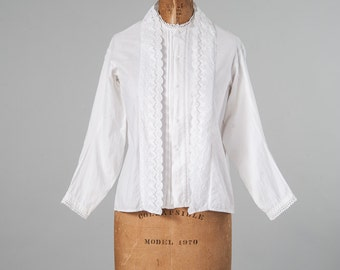 Antique White Cotton Lace Blouse, 19th Century Victorian Cotton Blouse, Pintucks Lace Embroidery, Women's Clothing, Tops & Tees, Blouses