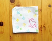 lucky pig handkerchief. spring confetti japanese tenugui hand towel. pure cotton baby wipe. hand stamped body cloth.  baby shower gifts