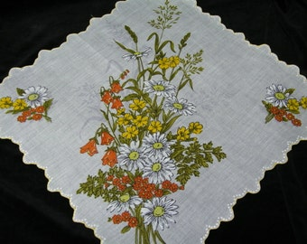 "Vintage 14"" Scalloped Orange, Yellow Mixed Floral Nosegay Bouquet Wedding Handkerchief or Doily, 9725"