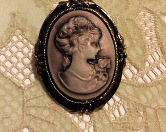 carved cameo brooch, vintage cameo portrait in lavender, gray and gold, vintage pin,  accessory retro costume jewelry, CLEARANCE