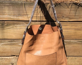 2 for 1 Cedar Handle Hobo Handbag Purse / Vegan Leather Hobo / Toffee Hobo Bag / Monogram