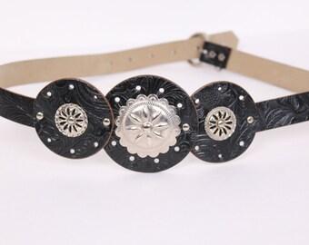vintage black concho belt western metal medallion native american southwestern size medium