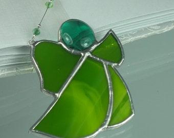 Little Moss green Stained glass Guardian angel Suncatcher Window ornament & Christmas decoration