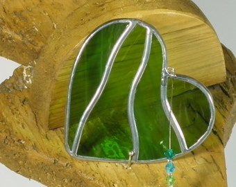 Small Moss green Stained glass Heart Suncatcher & Window ornament