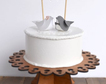 Paper Birds Wedding Cake Topper with Banner