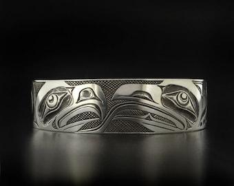 Native Love Birds Eagle Facing Raven Design Antiqued Sterling Silver Hand-Engraved Unisex