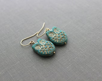 Aqua and Gold Czech Glass Owl earrings, 14k gold filled earring wires, Woodland Earrings, Turquoise Blue green and golden patina, Feathered