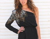 the mystic -- vintage 80s black one shoulder mini dress with airbrushed leaf motif -- S