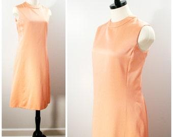 Vintage Peach Dress, 60s Peach Sheath Dress, Sleeveless Fitted Midi Pencil Dress, Size M