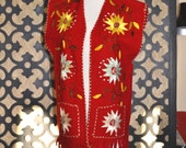 Vintge Ethnic Vest 34 Inch Waist Red Embroidered Vest