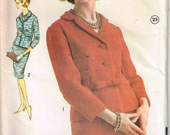 Vintage 1960's Suit Jacket and Slim Skirt Sewing Pattern Advance 3174 Size 14 Bust 34 Inch Jackie Kennedy Madmen