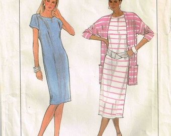 Straight Pullover Loose Fitting Dress Sewing Pattern Simplicity 9098 Misses Size 14 16 18 20, Bust 36  38 40 42  Cardigan Jacket