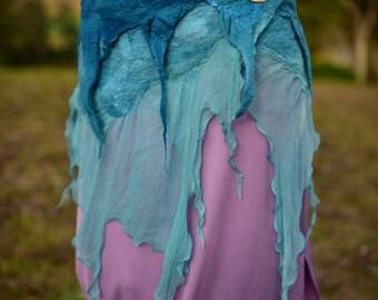 Nuno Felted Belt-Mermaid Costume-Water Sprite-Ocean Skirt-Turquoise Belt-Silk Chiffon Material-Ocean Wear-Silk Belt-Festival Wear OOAK