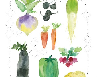 Multicolor garden vegetables illustration, Watercolor veggie print, Veggie art, Watercolor vegetable, Kitchen decor, Kitchen wall art, Food