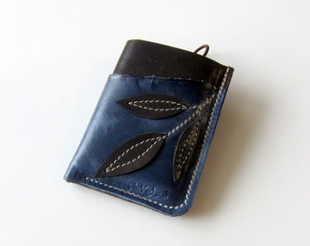 Leather Wallet - 3 Pocket with Stay In Place Attachment - Raw and Rustic - Triple Leaves on Stem with Raw Edge