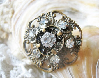 Antique rhinestone brooch, Vintage rhinestone brooch, Art Nouveau rhinestone brooch, Antique French flower brooch, Antique floral brooch
